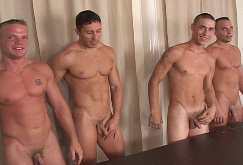 horny straight guys in a cum shot competition video
