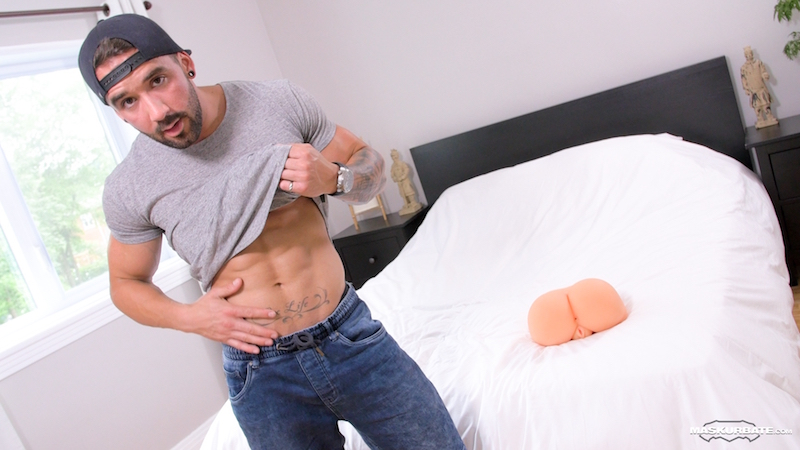 hung jock fucking a sex toy on video