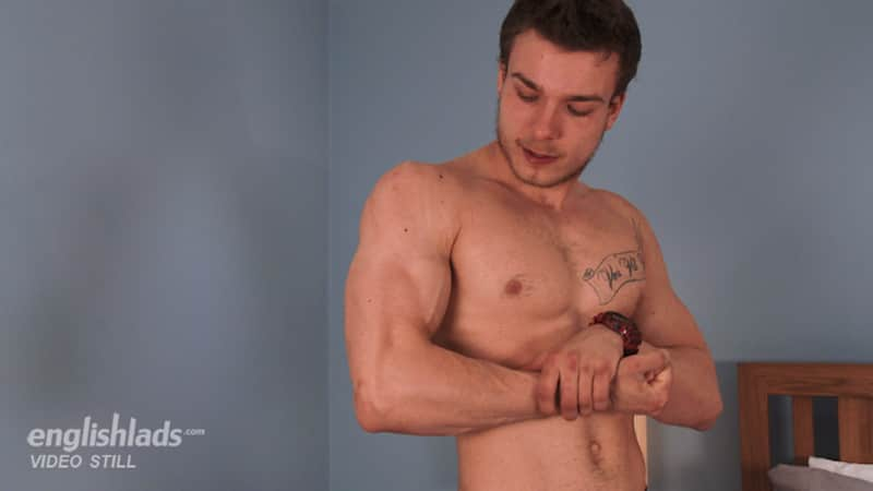 straight british jock Lewis Connell flexing his muscles