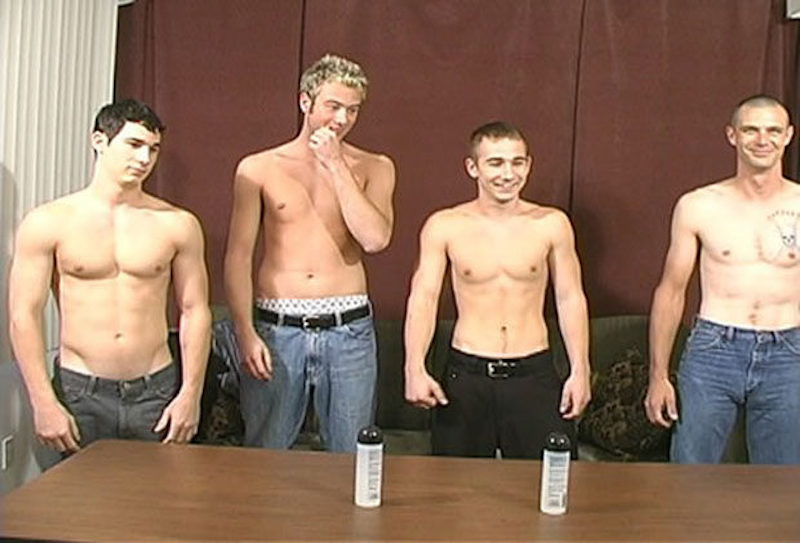 four straight guys jerk off contest