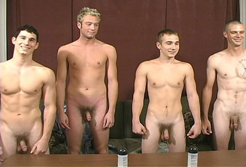 four naked straight guys together