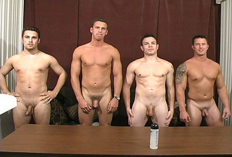 4 naked straight guys jerking together
