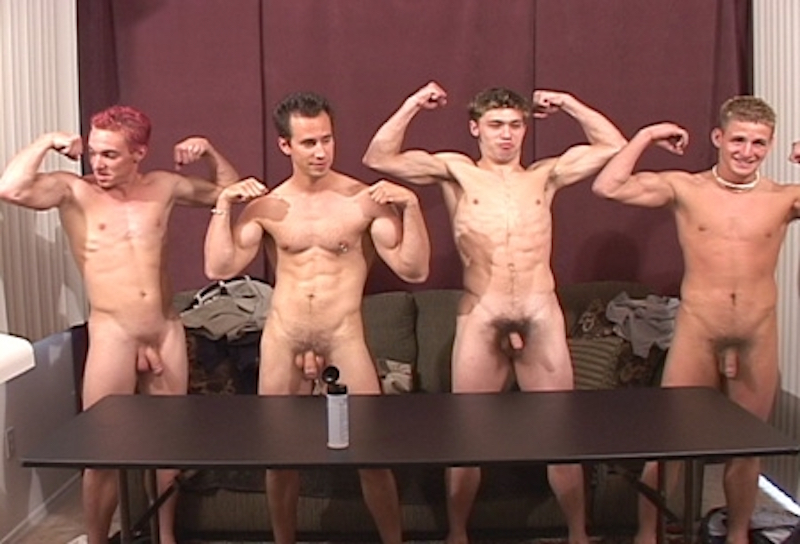 four straight jocks naked and posing