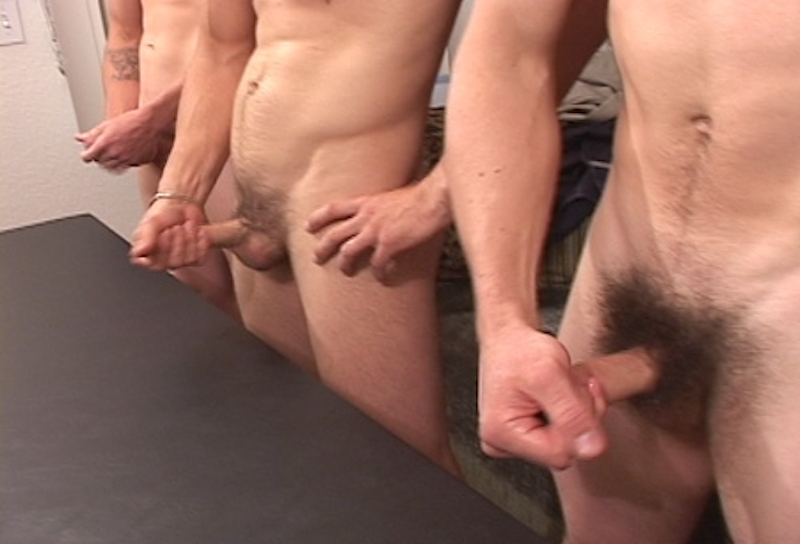 three straight guys jerking off together