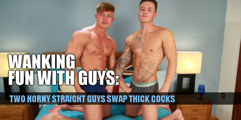 Two straight muscled guys get their thick uncut cocks out together and wank each other off