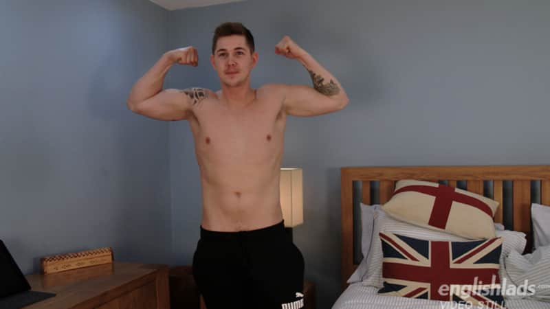straight British boy in a gay porn hand job video