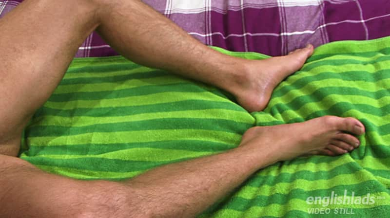 straight guy hairy legs on a bed