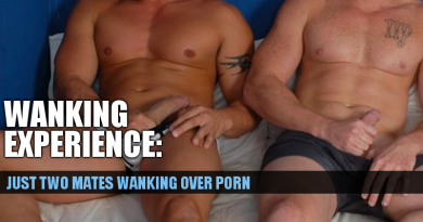 two straight men get their cocks out and wank together