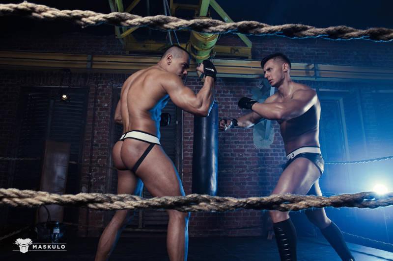 two muscled jocks fighting in their underwear