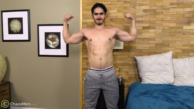 muscle man getting naked for a jerk off video