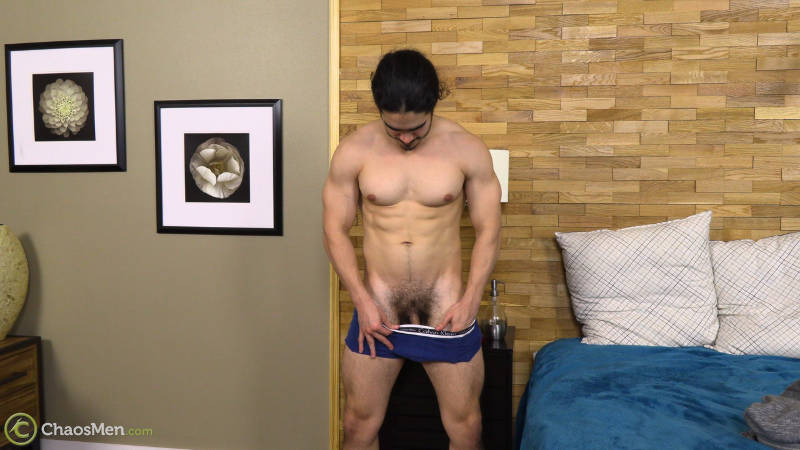 bodybuilder flashing his cock