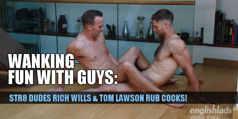 two horny straight guys rubbing their cocks together