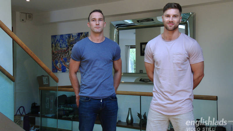 straight jocks Rich Wills and Tom Lawson get ready to wank together