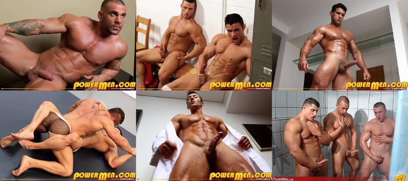 Muscle men jerking off and cumming at PowerMen