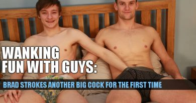 Teen wanks another cock for the first time. Brad Askew swaps dicks with Joel Jenkins!