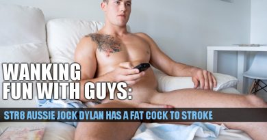 Straight Aussie jock Dylan is packing a fat uncut cock